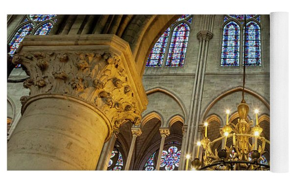 Cathedral Notre Dame Chandelier Yoga Mat by Brian Jannsen
