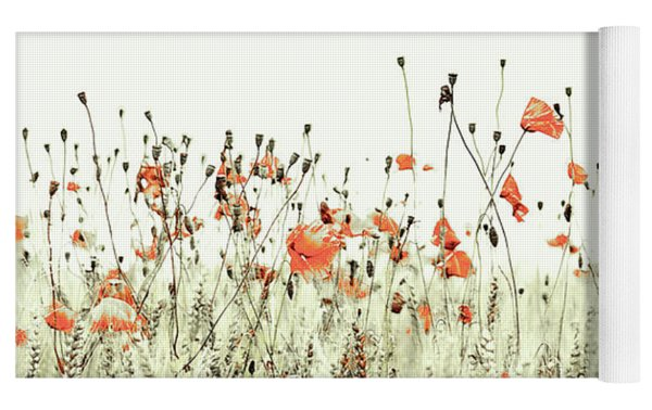 Field Of Coral Poppies Yoga Mat by Susan Maxwell Schmidt