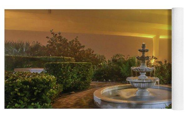 Foggy Fountain And Bridge Yoga Mat by Tom Claud