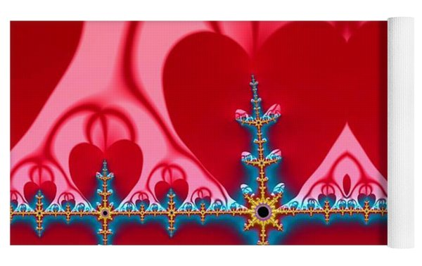 Gods Love And Mercy Is Infinite Fractal Abstract Hearts Yoga Mat by Rose Santuci-Sofranko