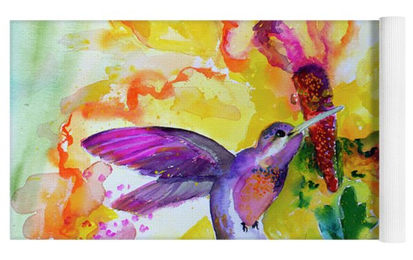 Hummingbird Song Watercolor Yoga Mat by Ginette Callaway