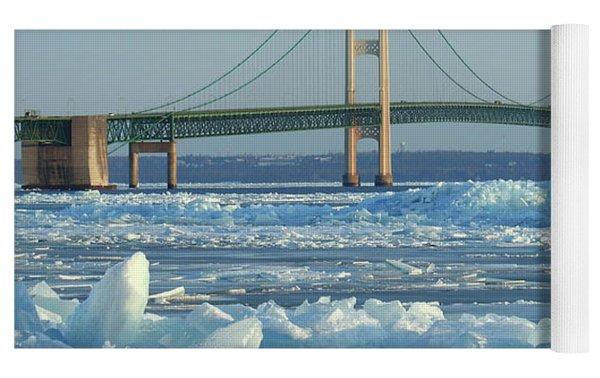 Mackinac Bridge In Ice 2161801 Yoga Mat by Rick Veldman