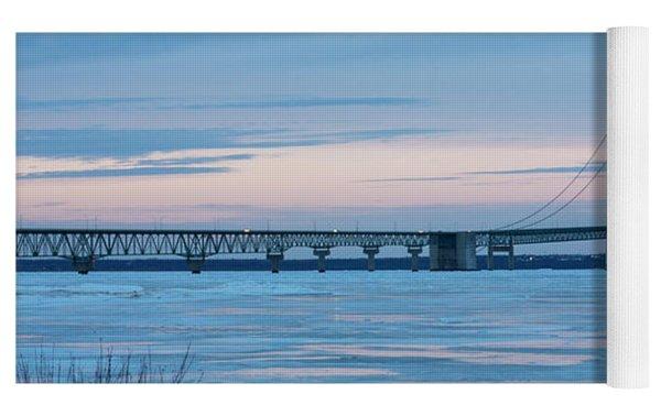 Mackinac Bridge In Ice 2161803 Yoga Mat by Rick Veldman
