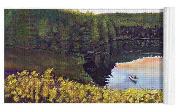 Perfect Fishing Day On Lake Davenport Yoga Mat by Jan Dappen