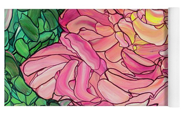 Pink Rose Yoga Mat by James W Johnson