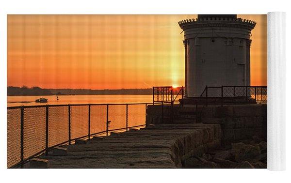 Portland Breakwater Lighthouse - Portland Harbor, Maine Yoga Mat by Erin Paul Donovan