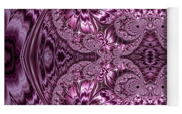 Purple Lilac Gardens And Reflecting Pools Fractal Abstract Yoga Mat by Rose Santuci-Sofranko
