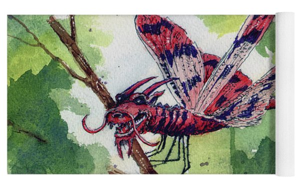 Red Dragonfly Yoga Mat by Sam Sidders