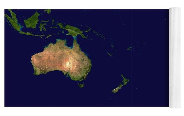 Satellite Image Of Oceania, Australasia And South-eastern Asia Yoga Mat by Celestial Images