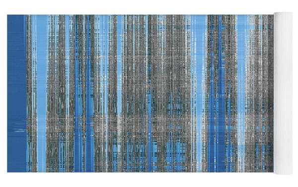 Silver Blue Plaid Abstract #4 Yoga Mat by Patti Deters