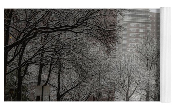 Snow In The City Yoga Mat by Alison Frank