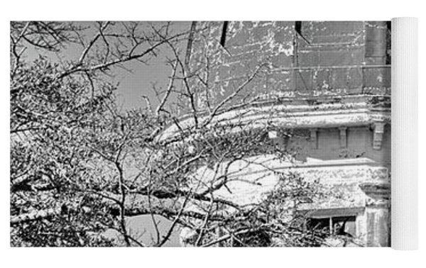 South Carolina State Hospital Dome Black And White 3 Yoga Mat by Lisa Wooten