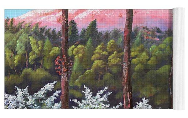 Springtime At Pink Knob - Large Canvas - Ellijay Yoga Mat by Jan Dappen