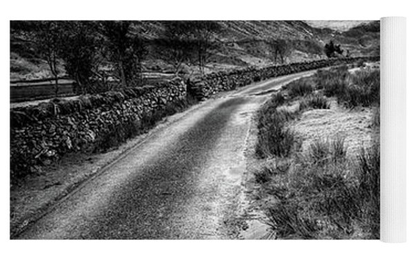Valley Sunset Snowdonia Bw Yoga Mat by Adrian Evans