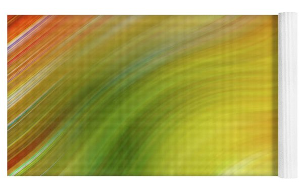 Wavy Colorful Abstract #4 - Yellow Green Orange Yoga Mat by Patti Deters