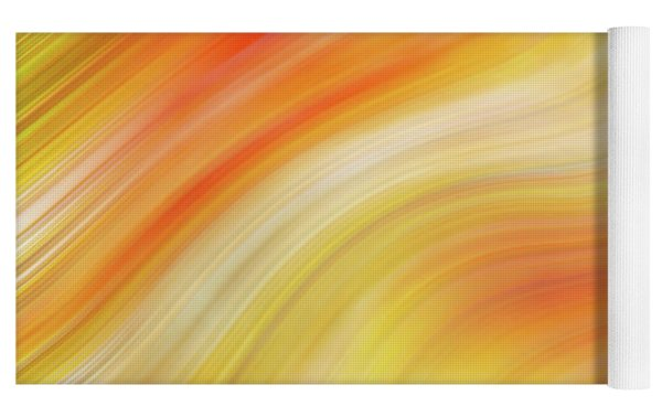 Wavy Colorful Abstract #5 - Yellow Orange Yoga Mat by Patti Deters