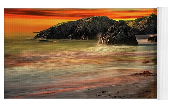 Welsh Coast Sunset Yoga Mat by Adrian Evans