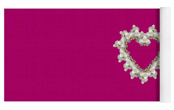 White Orchid Floral Heart Love And Romance Yoga Mat by Rose Santuci-Sofranko