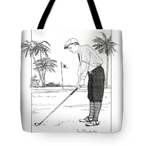 Tote Bag featuring the drawing  1920's Vintage Golfer by Ira Shander