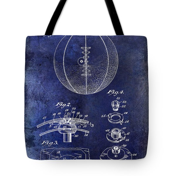 1927 Basketball Patent Drawing Blue Tote Bag