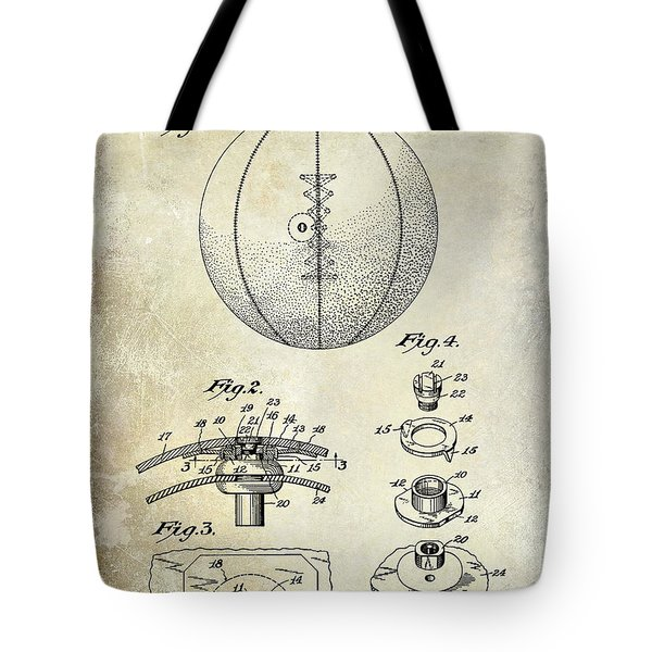1927 Basketball Patent Drawing Tote Bag