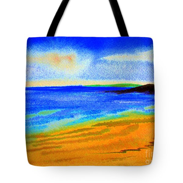 Tote Bag featuring the drawing  2 Australian Beach In The Morning Near Cottesloe by Roberto Gagliardi