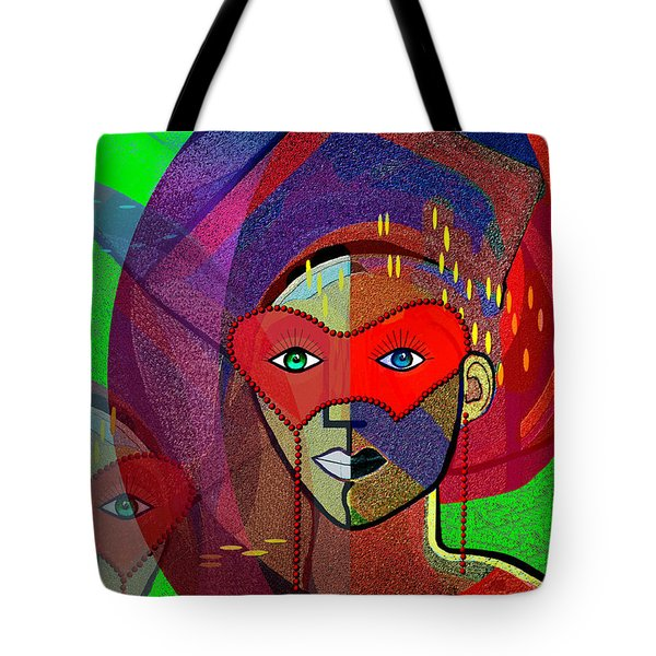 394 - Challenging Woman With Mask Tote Bag by Irmgard Schoendorf Welch