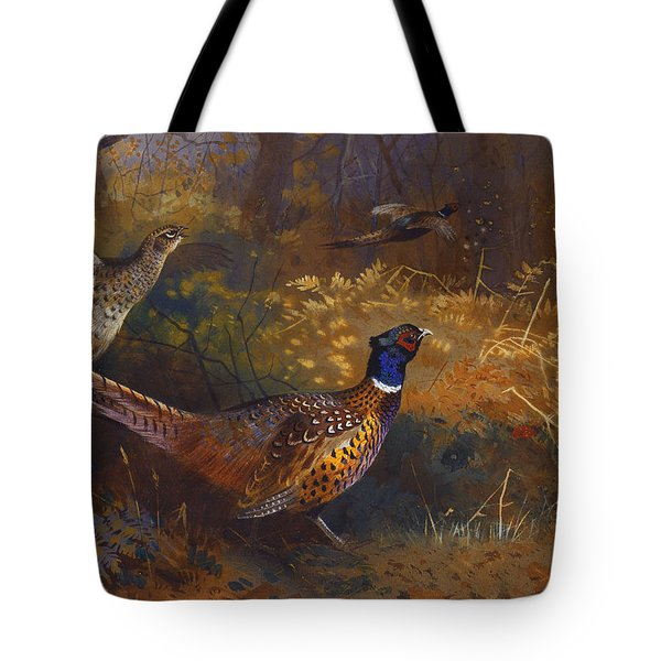 A Cock And Hen Pheasant At The Edge Of A Wood Tote Bag by Archibald Thorburn