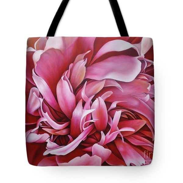 Tote Bag featuring the painting  Abstract Peony by Paula L