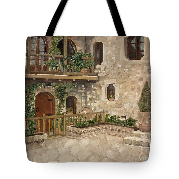 Greek Courtyard - Agiou Stefanou Monastery -balcony Tote Bag by Jan Dappen