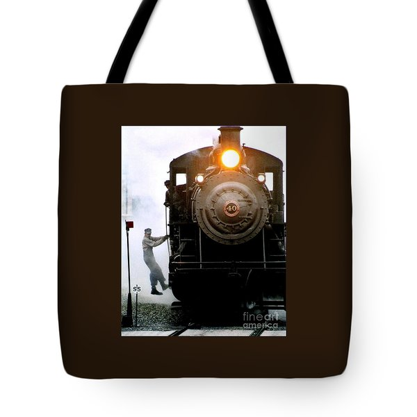 All Aboard The Number 40 At New Hope Pennsylvania Train Terminal Tote Bag