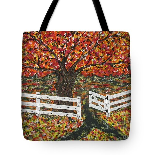 Autumn At The White Fence Farm Tote Bag by Jeffrey Koss