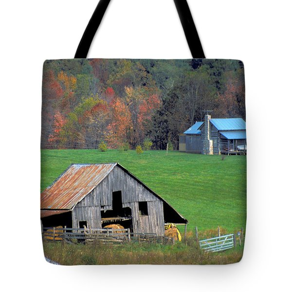 Tote Bag featuring the photograph  Barn And Log Cabin In Virginia by Carl Purcell