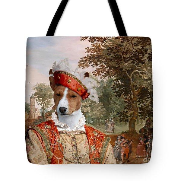 Basenji Art Canvas Print Tote Bag