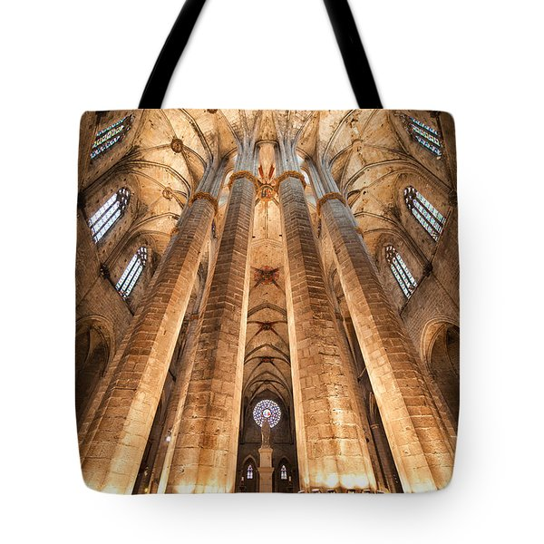 Basilica Of Santa Maria Del Mar In Barcelona Tote Bag