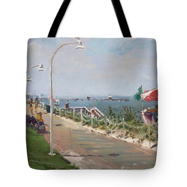 Beach Border Walk In Norfolk Va Tote Bag