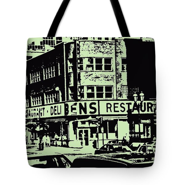 Ben's Resto Delicatessan Lunchtime Crowds And Traffic Jams Vintage Montreal Memorabilia Tote Bag by Carole Spandau