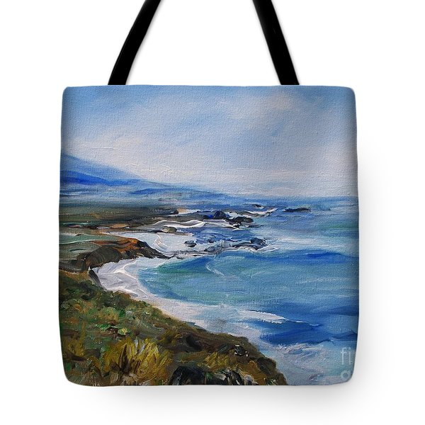 Tote Bag featuring the painting  Big Sur Coastline by Eric  Schiabor