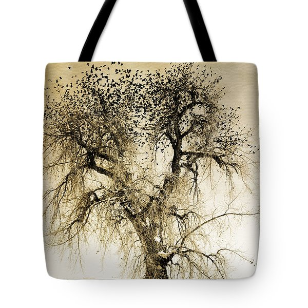 Bird Tree Fine Art  Mono Tone And Textured Tote Bag