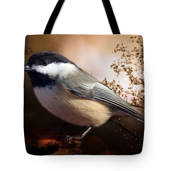 Black Capped Chickadee Tote Bag by Elaine Manley