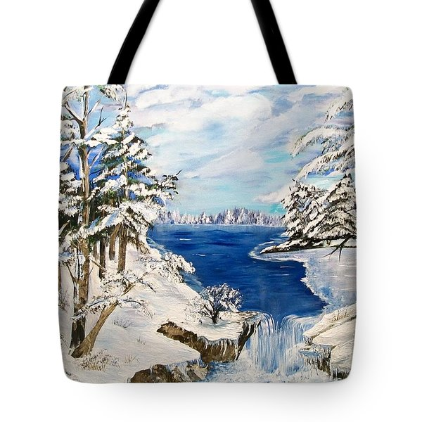 Tote Bag featuring the painting  Blanket Of Ice by Sharon Duguay