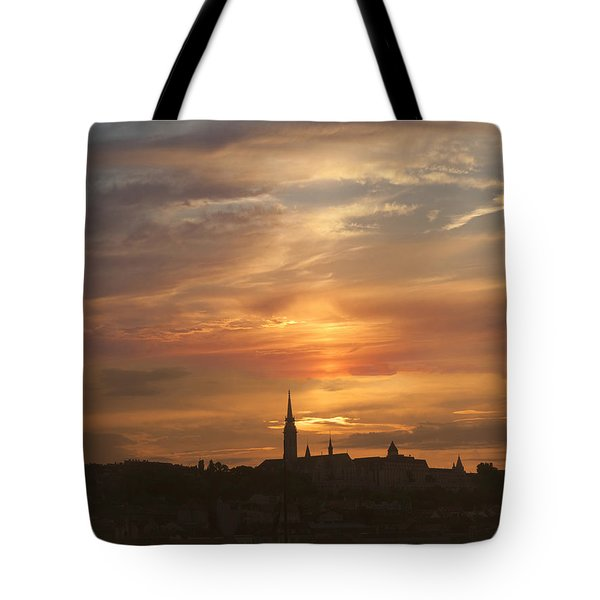 Budapest's Fiery Skies Tote Bag