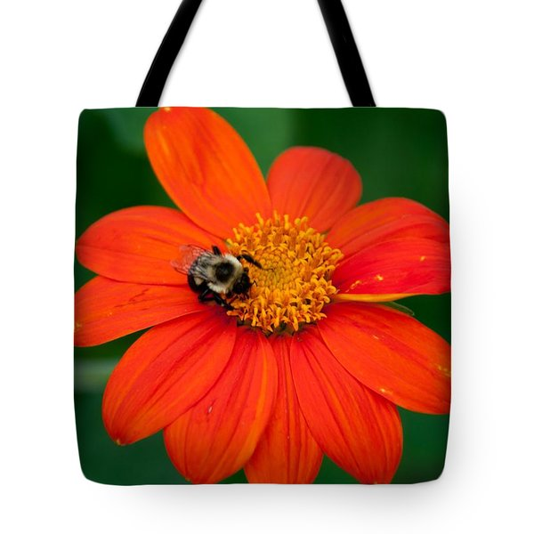 Tote Bag featuring the photograph  Bumblebee On Flower by John Black
