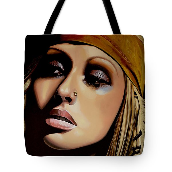 Christina Aguilera Painting Tote Bag by Paul Meijering