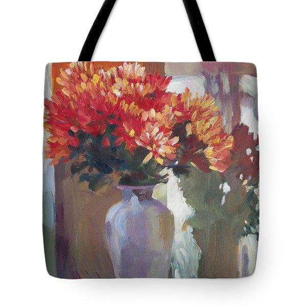 Chrysanthemums In Vase Tote Bag by David Lloyd Glover