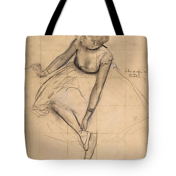 Tote Bag featuring the drawing  Dancer Adjusting Her Slipper by Edgar Degas