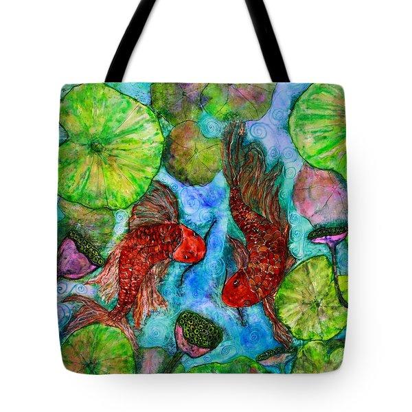 Dancing Koi Tote Bag by Janet Immordino