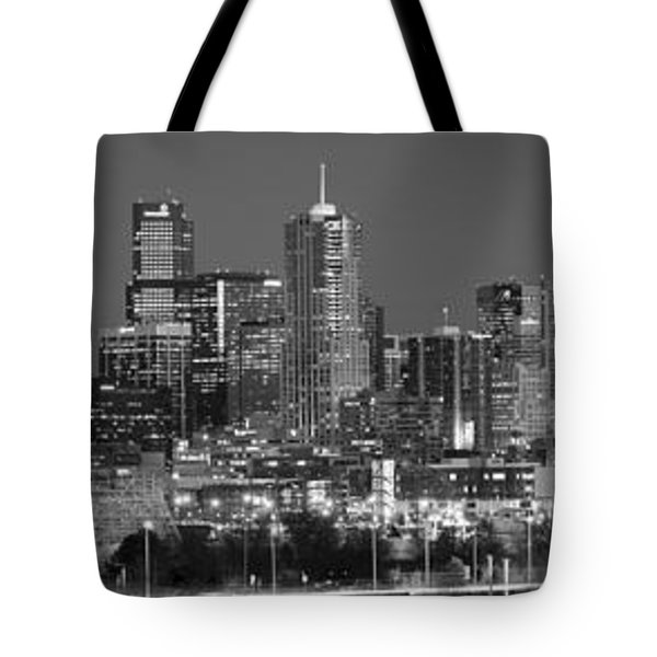 Tote Bag featuring the photograph  Denver Skyline At Dusk Black And White Bw Evening Extra Wide Panorama Broncos  by Jon Holiday