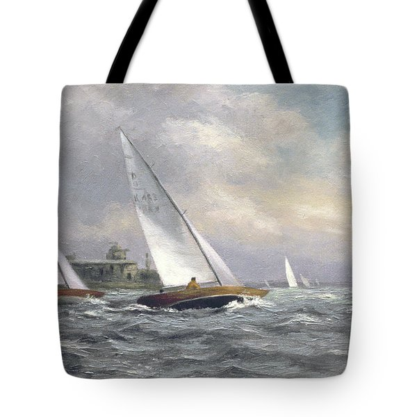 Dragons At Garrison Point Tote Bag by Vic Trevett