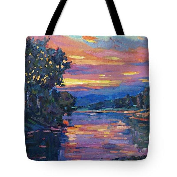 Dusk River Tote Bag by David Lloyd Glover